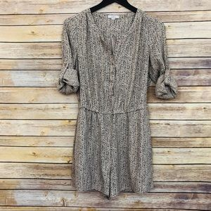 Loft- Printed Button Down Romper w/ Long Sleeves